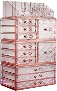 ZHIAI Cosmetic Jewelry Organizer Makeup Holder - Acrylic Interlocking Drawers to Create Your Own Specially Designed Makeup Counter, Stackable and Interchangeable Top 11 Drawers, Pink) Makeup Storage Drawers, Makeup Drawer Organization, Jewelry Organization, Makeup Holder, Makeup Box, Makeup Ideas, Paint Color Swatches, Palette Organizer, Makeup Counter