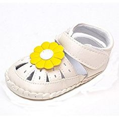 Lidiano Baby Girl's Sewing Closed Toe Outdoor Non Slip Toddler Crib Shoes Sandals (13-18 Months, Yellow Flower)