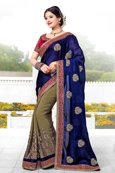 Andaaz Fashion presents new arrival designer Blue Brown Chiffon and Georgette Saree. Embellished with Embroidered,Resham,Stone,Zari and Embroidered Pallu, Boat Neck Blouse, Short Sleeve. This is perfect for Party,Wedding,Festival,Casual,Ceremonial  http://www.andaazfashion.com/womens/sarees/fabric/chiffon-saree