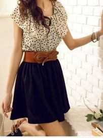 New Arrival Dot Printed Above Knee Dress Without Belt