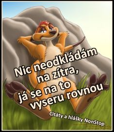 Nic neodkládám na zítra, já se na to vyseru rovnou. Funny Texts, Funny Jokes, Make Me Smile Quotes, Phone Jokes, Good Jokes, Jokes Quotes, Best Memes, The Funny, Slogan