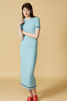 Cashmere Ribbed Dress in Turquoise