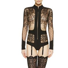 La Perla Neoprene Desire Bodysuit ($2,768) ❤ liked on Polyvore featuring intimates, shapewear and black