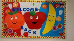back to school bulletin biard cafeteria Cafe Bulletin Boards, Cafeteria Bulletin Boards, Nutrition Bulletin Boards, Teacher Bulletin Boards, Back To School Bulletin Boards, School Cafeteria Decorations, School Nurse Office, School Nursing, School Staff