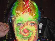 Tye-dye clown face