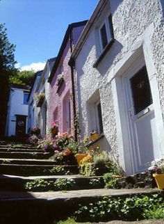 Terraced houses in Mumbles, Wales, UK