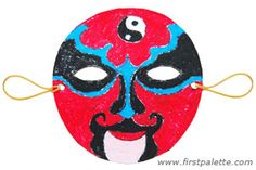 Chinese Opera Mask - Chinese culture ( working on a Halloween Costume). New Year's Crafts, Fun Crafts, Crafts For Kids, Craft Kids, Chinese Opera Mask, Crafts For Seniors, Senior Crafts, Halloween Templates, Chinese New Year Crafts
