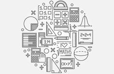 Illustration about Math linear illustration - vector mathematics education circle background design concept. Illustration of icon, banner, backdrop - 61990614 Math Logo, Math Wallpaper, Math Design, Illustration Vector, Science Illustration, Free Illustrations, Math Formulas, Math Art, Math Classroom