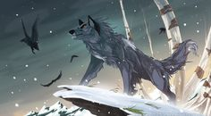 Wolves / winter, frost, ice, elemental wolf with crow, black bird, etc / (King of the North. by Wolf250.deviantart.com on @DeviantArt)