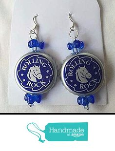 Rolling Rock Blue and Dark Blue Tribead Upcycled Bottlecap Earrings from Southern Women Crafts https://www.amazon.com/dp/B01GVX0ONM/ref=hnd_sw_r_pi_dp_Qv6Ixb7VDQSMY #handmadeatamazon