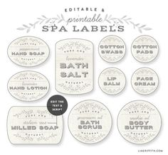 French Laundry inspired printable spa labels @LiaGriffith.com @WorldLabel