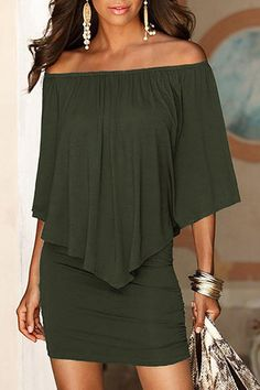 Army Green Off The Shoulder Ruffles Overlay Design Mini Dress US$19.95