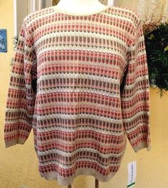 NEW Alfred Dunner L Pullover Sweater Khaki/Multi Stripes 3/4 Sleeves Round Neck #AlfredDunner #Cardigan #CasualDressy