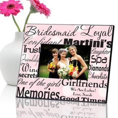 Personalized Bridesmaid Picture Frame - Polka Dots on Pink