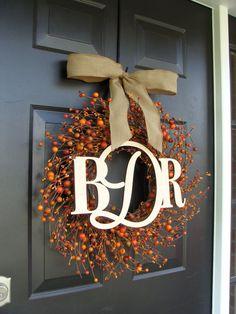 Three Letter Monogram Wreath- Monogram Berry Wreath with Burlap Ribbon- Fall Wedding Decor- 22 inch Door Wreath