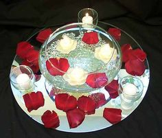 Another classic centerpiece!   When you can't have/think of anything else, go for the classics. Gel beads gives this bowl a different twist.