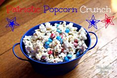 This Patriotic Popcorn Crunch recipe is fun to make AND eat!! The perfect blend of salty and sweet for your 4th of July party guests! #4thofJuly #popcorn #sweetandsalty #snacks