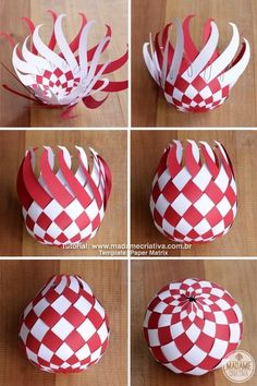 DIY paper Balls tutorial! So beautiful! I'm totally making this for Christmas! Passo a Passo Bolas de Paper trançado! Lindo para decoração de natal! #chirstmascrafts