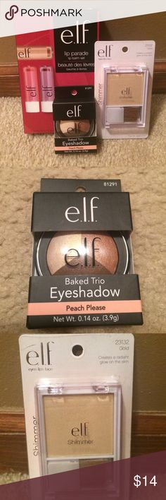 NEW! E.L.F. Beauty Bundle This lot of ELF products includes (1) 3 lip balm set in Red, Berry Sweet and Bare Kiss shades; (2) Shimmer powder in Gold to be used know face, collarbone and shoulders for shimmery glow effect and (3) Baked eye trio in Peach Please (Gold, peach and brown colors) ELF Makeup