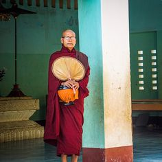 Monk at sunrise In Bagan #travel #bagan #myanmar #wanderlust #temple #sunrise #monk