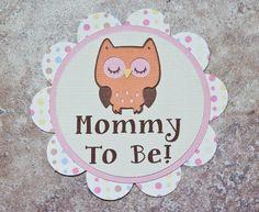 Owl Theme Button Pin orange pink brown polka by lovetiesbymeggin, $3.50