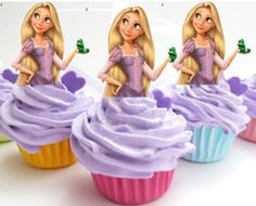 Your Cupcake is Her Dress Rapunzel Tangled cupcake Toppers Princess Birthday Party Decorations Set of 12 Unique and very cute on Etsy, $12.00