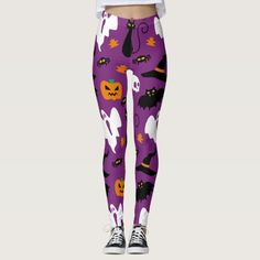 Cute Halloween Costume Party Leggings. Purple with bats, cats, witches hats, ghosts and pumpkins #ad