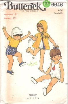 Butterick 6646 1970s Toddlers Button Shoulder Snap Crotch Playsuit Shorts by mbchills on Etsy