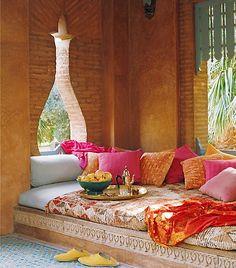 Jaouad Kadiri's poolhouse in Marrakech Marocco Interior, Bohemian Patio, Bohemian Design, Cool Rooms, Sunroom, Moroccan Interiors, Moroccan Decor, Moroccan Style, Marrakech