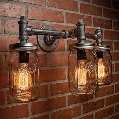 Éclairage industriel - éclairage - Mason Jar Light - Steampunk Lighting - Bar Light - lustre industriel - applique murale - livraison gratuite