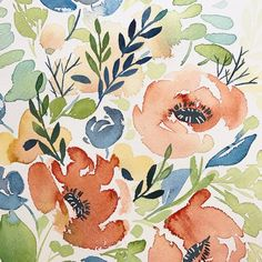 watercolor florals white pen