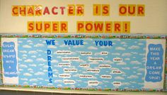 This Every Dream Starts With A Dreamer. - Back-to-School Bulletin Board is just one of our many bulletin board ideas. We have thousands of fun and unique teaching ideas that are great for the classroom and at home! Halloween Bulletin Boards, Back To School Bulletin Boards, Superhero Classroom Theme, Classroom Themes, Classroom Organization, Classroom Management, Beginning Of The School Year, First Day Of School, Middle School