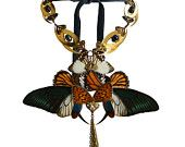 Feminine Steampunk Victorian Fairy - Gold Plated - Femme Fatale Necklace - With Real Butterflies Wings - One Of A Kind - Free Shipping. €108.00, via Etsy.