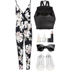 Florals for spring by baludna on Polyvore featuring Boohoo, adidas, Alexander Wang, NARS Cosmetics, Essie, women's clothing, women's fashion, women, female and woman