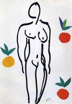 nude with oranges, henri matisse 1951