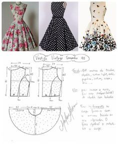 Amazing Sewing Patterns Clone Your Clothes Ideas. Enchanting Sewing Patterns Clone Your Clothes Ideas. Vintage Dress Patterns, Dress Sewing Patterns, Clothing Patterns, Vintage Dresses, Skirt Patterns, Pattern Sewing, Pattern Drafting, Fashion Sewing, Diy Fashion