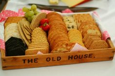 Vintage tea party Acadreamia Designs - Assortment of biscuit in a rustic tray. Bbq Party, Party Snacks, Tea Party Baby Shower, Bridal Shower, Vintage Tea Parties, Tea Recipes, Recipies, Tea Biscuits, Tea Party Theme