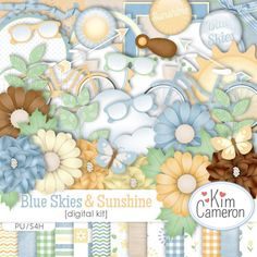 Daisies & Dimples Blue Skies & Sunshine [kimcameron_blueskiesandsunshine] - Enjoy a bright sunny day with this blue skies and sunshine mini kit. Great for garden, family, park and many other of photos. All files are created at 300 dpi and sized for 12x12 layouts. 20 Papers 40 Total Elements (includes color variations): 2 arrows, 2 bicycles, 3 brads, 2 butterflies, caption