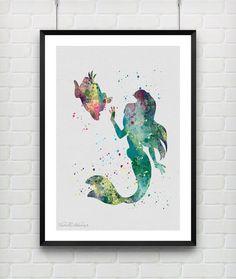 Little Mermaid Ariel Watercolor Art Print Disney Baby Girl Nursery Room Wall Art by VIVIDEDITIONS
