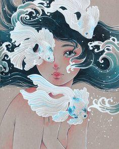 Maria Victoria Rivero-Sirenes- Japan Expo Paris by Victoria-Rivero Art Inspo, Inspiration Art, Japan Expo Paris, Japan Japan, Art Sketches, Art Drawings, Arte Indie, Art Amour, Art Du Croquis