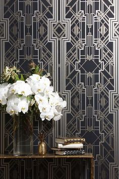 Would love this art deco wallpaper in an entryway. More