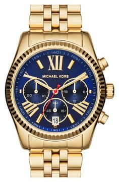 Michael Kors 'Lexington' Chronograph Bracelet Watch, 38mm, A sleek tonal scheme defines a classic chronograph watch featuring a Roman-numeral face framed by a textured bezel and set on a fine bracelet.38mm case; 20mm band width.Adjustable bracelet.