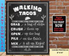 Walking Taco Bar Sign Printable, Taco Bar Sign , Taco Party Decor, Fiesta Decorations, Taco Bout a Sign, DIY Taco Bar, Instant Download Birthday Gifts For Her, Birthday Signs, Birthday Ideas, Walking Tacos, Fiesta Decorations, Taco Party, Bar Signs, Poster Size Prints, Printables