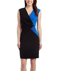 Another great find on #zulily! Black & Cobalt Color Block V-Neck Dress #zulilyfinds