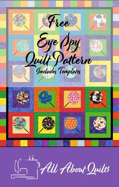 The perfect free quilt pattern to use to make an eye spy quilt for someone young to enjoy. Ideal for the beginner quilter. Quilting Projects, Quilting Designs, I Spy Quilt, Baby Quilts, Memory Quilts, Fabric Design, Quilt Design, Quilt Patterns Free, Quilt Making