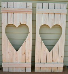 This would be perfect to hide wall lamp cords! -- Rustic Shutter with Heart cutout Set of 2 by ViaWoodworking, $125.00