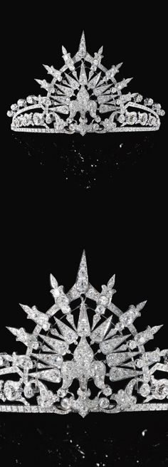 Diamond tiara, circa 1900 The central fleur-de-lys motif set en tremblant to a tiara composed of foliate and lanceolated motifs, set with cushion-shaped, circular-cut and rose diamonds, inner circumference approximately 170mm, accompanied by a detachable tiara frame, inner circumference approximately 340mm.