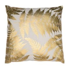 Tropical Leaves Gold Metallic Cushion ($39) ❤ liked on Polyvore featuring home, home decor, throw pillows, gold accent pillows, gold home accessories, palm leaf throw pillows, metallic throw pillows and gold home decor