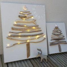 sapins de Noël originaux en bois flotté collé sur une toile vierge
