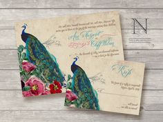 Peacock Wedding Invitations - Rustic Vintage Invites featuring flowers and peacock